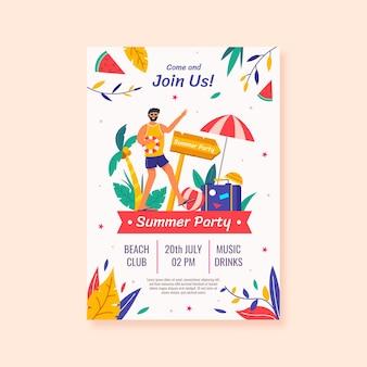 Modello di poster verticale festa estiva