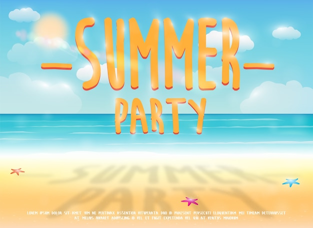 Summer party with sea sand beach background