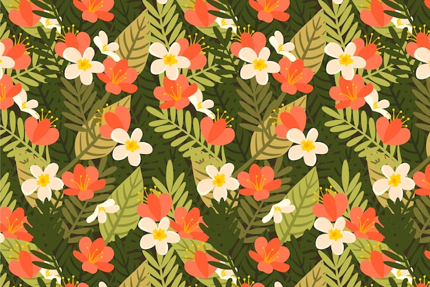 Summer pattern background flowers and leaves
