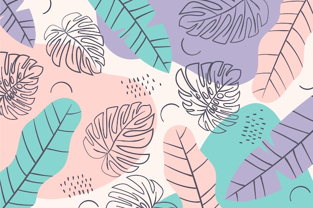 Summer pattern background minimal coloured leaves