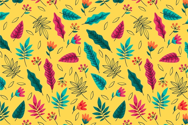 Summer pattern background types of leaves