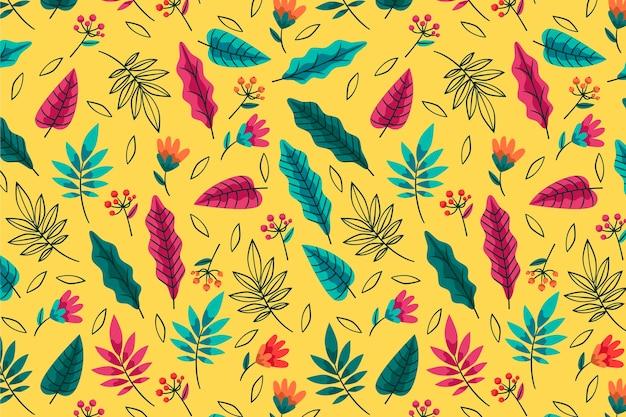 Летний узор фоновых видов листьев