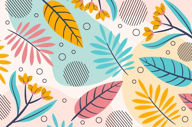 Summer pattern background various leaves and flowers