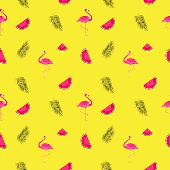 Summer pattern background with watermelons and flamingos