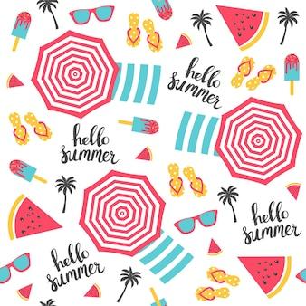여름 패턴입니다. 비치 파라솔 패턴입니다. 벡터 일러스트 레이 션
