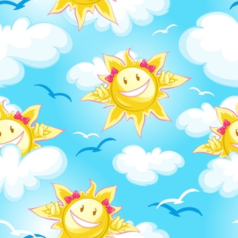 Summer pattern blue sky, clouds and cartoon sun