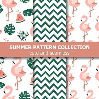 Коллекция летних узоров. тема фламинго и арбуза, летний баннер. вектор