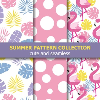 Коллекция летних узоров. тема фламинго, летний баннер. вектор