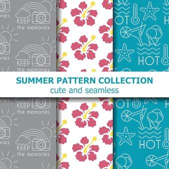 여름 패턴 컬렉션입니다. 여름 배너입니다. 벡터