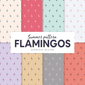 Summer pattern collection with flamingo silhouettes