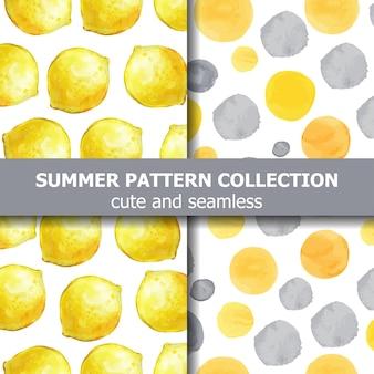 水彩レモンとドットの夏のパターンコレクション。夏のバナー。ベクター