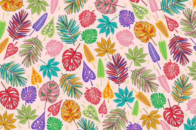 葉と夏のパターンデザイン