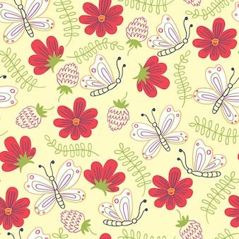 Summer pattern flowers butterflies