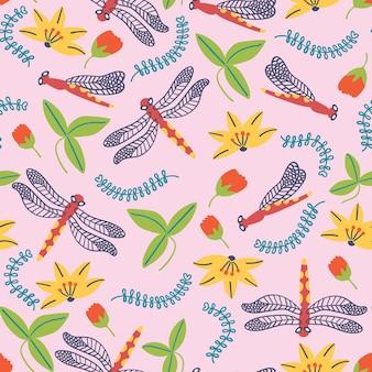 Летний узор цветы стрекоза