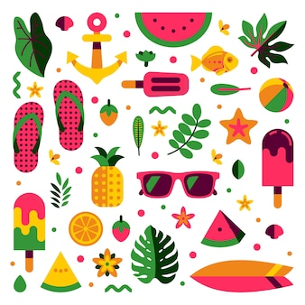 Summer pattern and holiday elements icon