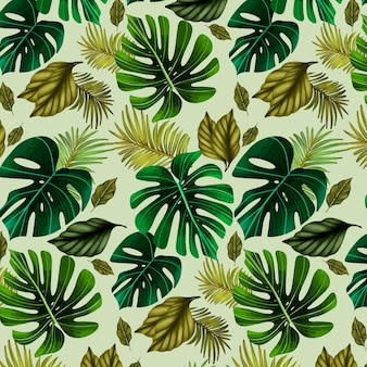 Summer pattern illustration with leaves