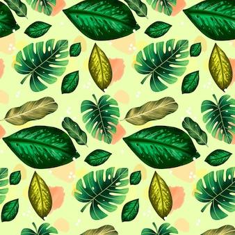Illustrazione del modello di estate con foglie