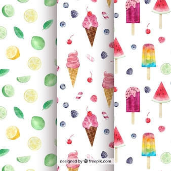 Summer pattern set in watercolor style