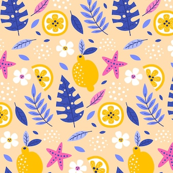 Летний шаблон с листьями и лимонами