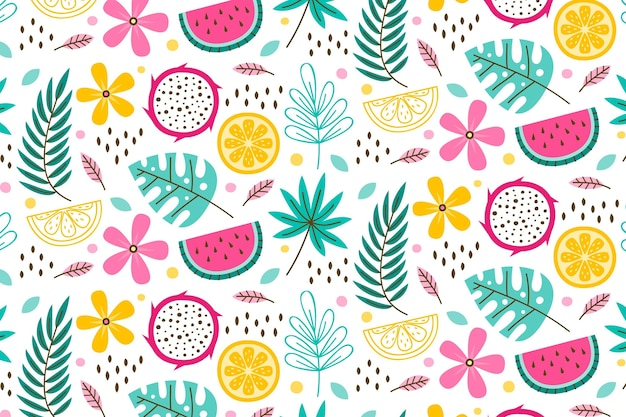 Summer pattern template with leaves and fruits