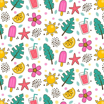Summer pattern template with leaves and ice cream