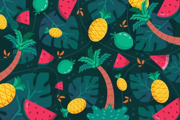 확대를위한 여름 패턴 벽지