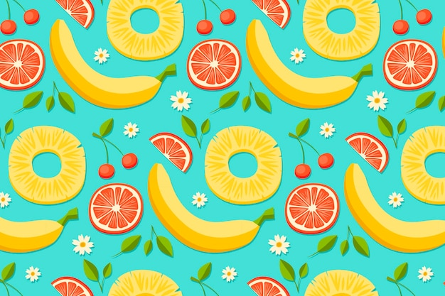 Summer pattern with bananas and grapefruit