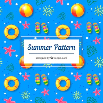 Summer pattern with beach elements