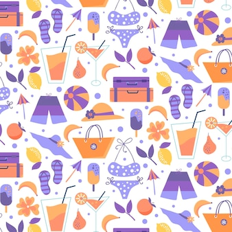 Summer pattern with beach essentials