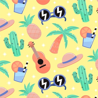 Summer pattern with cactus and guitar