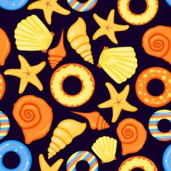 Summer pattern with cockleshells. cartoon style. vector illustration.