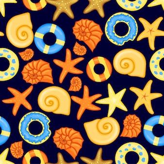 조가비와 여름 패턴입니다. 만화 스타일입니다. 벡터 일러스트 레이 션.
