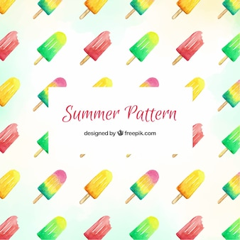 Summer pattern with colorful ice creams