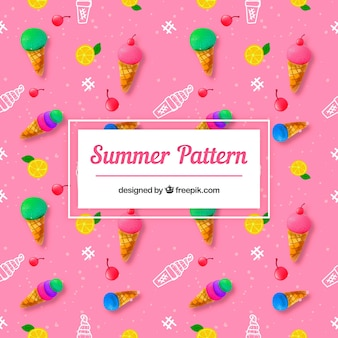 Summer pattern with delicious ice creams