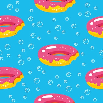 Summer pattern with donuts floats and pool
