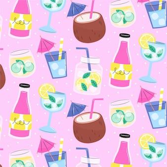 飲み物と夏のパターン