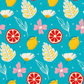 Summer pattern with flowers and grapefruits