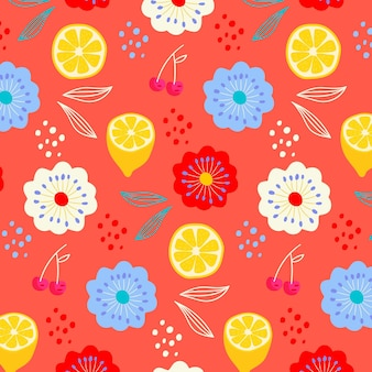 Summer pattern with flowers and lemons