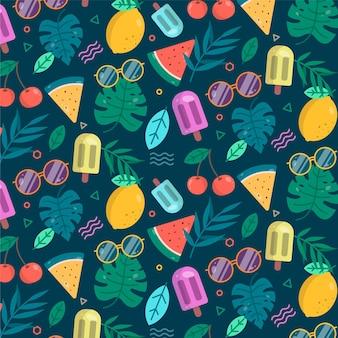 フルーツとアイスクリームの夏パターン
