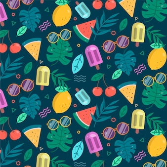 Summer pattern with fruits and ice cream