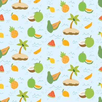Summer pattern with fruits and island