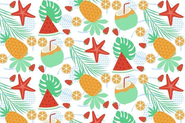 Summer pattern with fruits and sweet treats