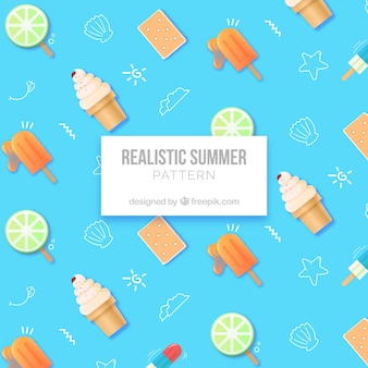 Summer pattern with ice creams in realistic style