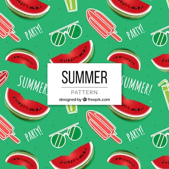 Summer pattern with ice creams and watermelons
