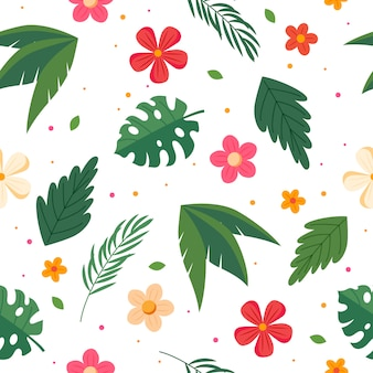 Summer pattern with leaves and flowers. vector illustration in flat style
