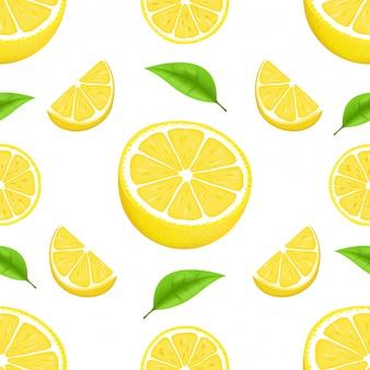 Летний узор с лимонами и листьями. бесшовные текстуры дизайн. сочный апельсин с ломтиком и листьями. свежие цитрусовые целые и половинки изолированных иллюстрация