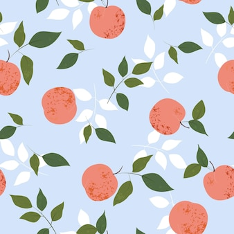 Summer pattern with peaches and leaves in modern hand drawn style