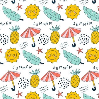 Summer pattern with pineapples and umbrellas