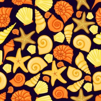 조개와 여름 패턴입니다. 만화 스타일입니다. 벡터 일러스트 레이 션.