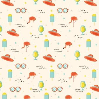 선글라스와 모자 여름 패턴